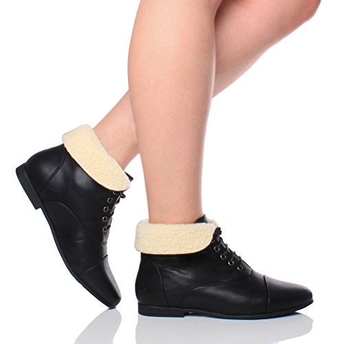 Flat Boots Fur up Heel Over fold Pixie Ankle Low Style Cuff Vintage Size Booties Womens Victorian Ladies Lace Black qwtx6wU4