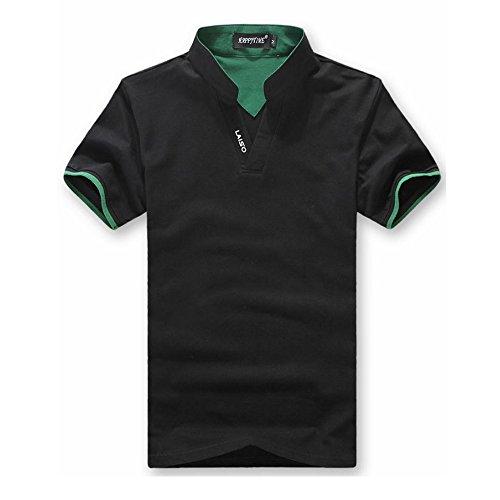 KMAZN ポロシャツ スタンドカラー メンズ スキッパー 半袖 Tシャツ カットソー トップス カジュアル 黒 春 夏 秋 ゴルフ