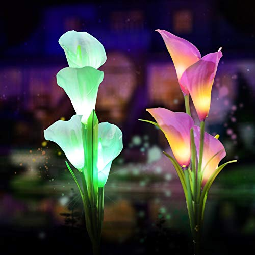 (Solar Garden Lights Outdoor, 2 Pack Solar Powered Lights with 8 Lily Flower, Multi-Color Changing LED Solar Stake Lights for Garden, Patio, Backyard (Yellow/White))
