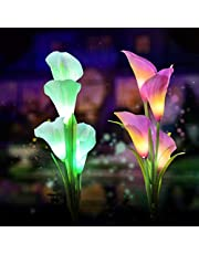 Solar Garden Lights Outdoor, 2 Pack Solar Powered Lights with 8 Lily Flower, Multi-Color Changing LED Solar Stake Lights for Garden, Patio, Backyard (Yellow/White) (Lily(White.Purple))