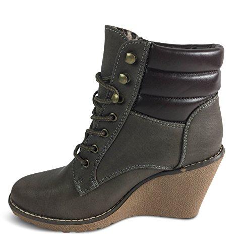 Damen Stiefeletten Keilabsatz Wedge Stiefel Boots Schnürer ST505 Braun