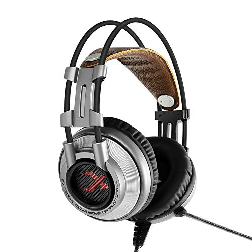 Price comparison product image Highpot K9 Gaming Headset for PC / PS4 / Laptop,  Noise Canceling Over Ear Headphones with mic,  Stereo Bass Surround,  Over Ear PC Gaming Headphones (Silver)