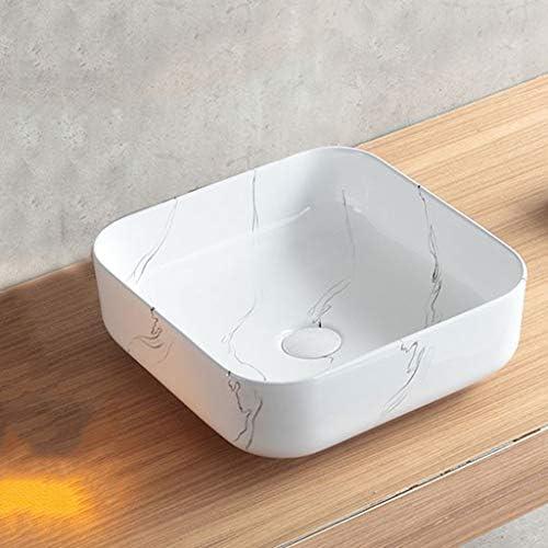 BoPin バスルームの洗面台、スクエアラウンドセラミック洗面台シンクホームバスルームバルコニーミニ洗面(シングル盆地)、利用可能な2つのサイズ ベッセルシンクシンク (Size : 38.5X38.5X14cm)