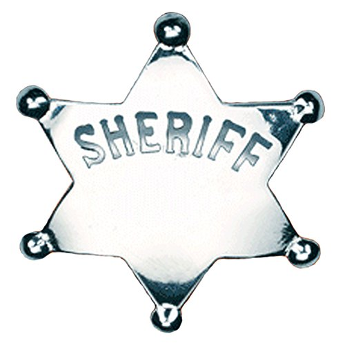 Western Sheriff Deputy Star Costume Badge w/ Safety (Halloween Costumes Marshall Texas)