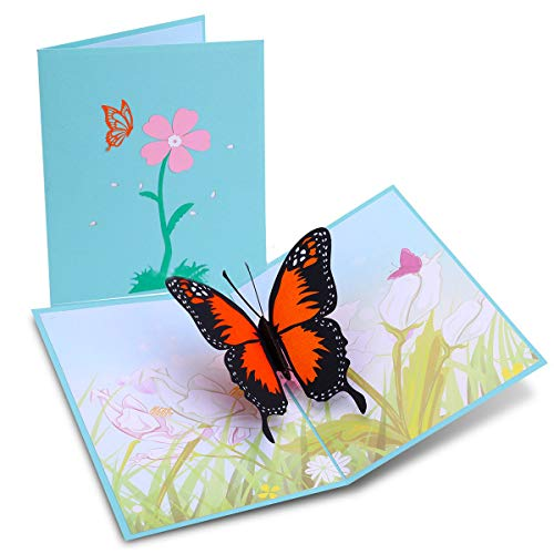 Mothers Day Butterfly 3D Pop Up Cards - Handmade Pop Up Greeting Cards Gift Ideas for Friends Students, Teacher Appreciate Gifts Cards, Birthday Thank You Cards Graduation Gifts for Teacher Nurse Day (Best Friend Card Ideas)