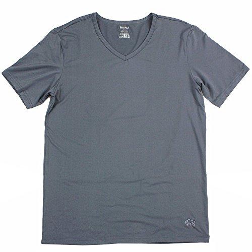 Buffalo By David Bitton Men's Col V Charcoal Microfiber V-Neck T-Shirt Sz: XL