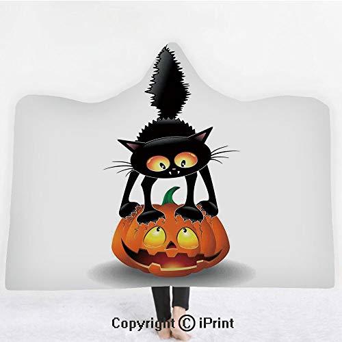"Halloween Decorations 3D Print Soft Hooded Blanket Boys Girls Premium Throw Blanket,Black Cat on Pumpkin Spooky Cartoon Characters Halloween Humor Art,Lightweight Microfiber(Kids 50""x60"")Orange Black ()"