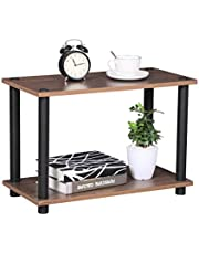 Coavas End-Table Wooden Sofa Table with Display Storage Shelf-Unit Rack Bookcase Side Table for Living Room Office Kitchen Garage