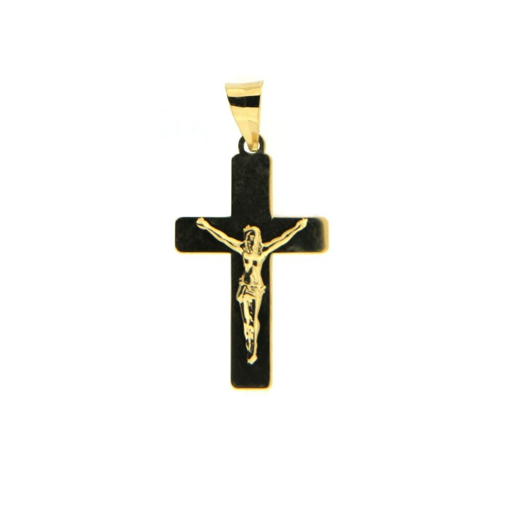 18 Kt yellow gold polish crucifix pendant (26 mm , 1.04 inch with bail)