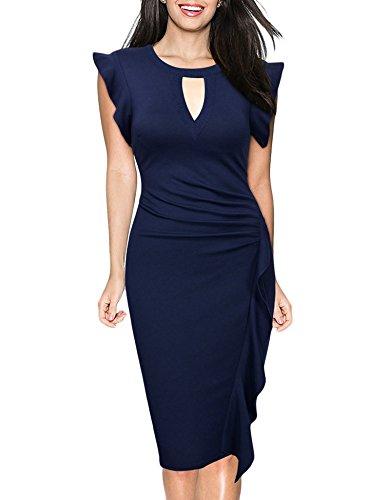 Dress Sleeve Sheath Neck Cap Work Blue Women's Midi V Navy Uniboutique Ruffle Business qvxXAf6wC