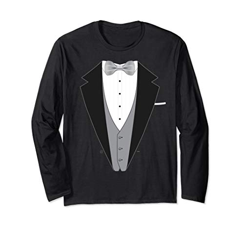 Bowtie Tuxedo Long Sleeve T Shirt for All Special Occasions