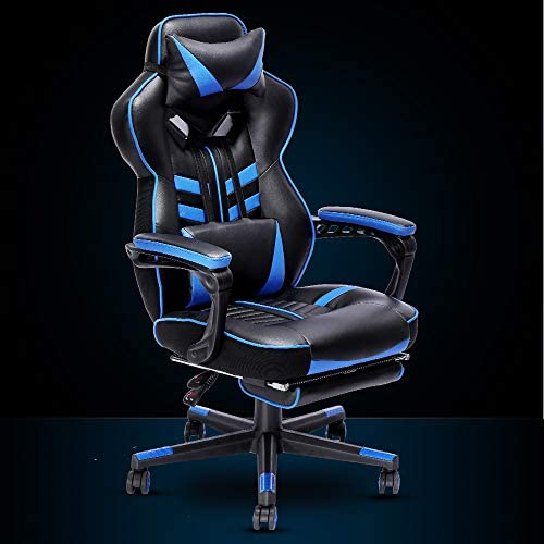 Bonzy Home Gaming Chair Office Desk Computer Chairs with Footrest Adult High Back Armrest Ergonomic Design with Adjustable Height and Lumbar(Blue) 41cOYxN27gL