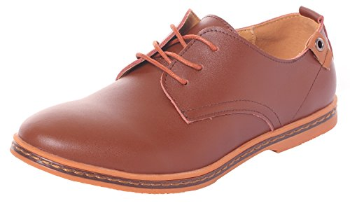 Runday Men's Fashion Business Leather Shoes Breathable Round Toe Lace up Casual Oxfords(8 D(M) US,Brown) (8 D(M) US, Brown)