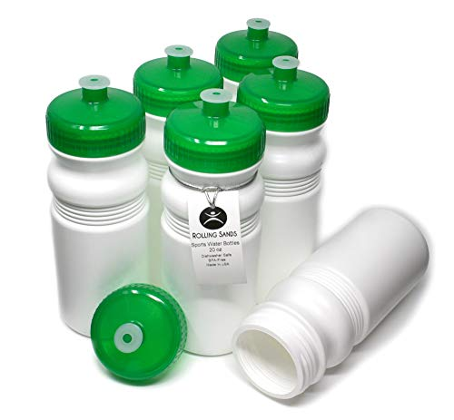 Rolling Sands 20oz Sports Water Bottles 6 Pack (BPA-Free, Made in USA) Dishwasher Safe, White Bottles/Green Lids