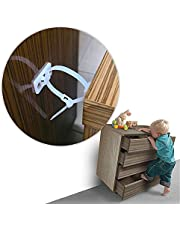 8 Pack Furniture Anchors, Horuhue Anti-Tip Furniture Straps for Baby Proofing, Cabinet Wall Anchors Protect Toddler and Pet from Falling Furniture Adjustable Child Safety Straps Earthquake Resistant