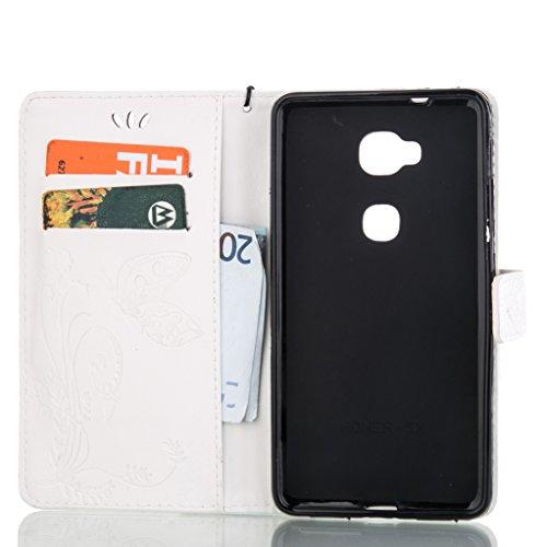 Trumpshop Smartphone Carcasa Funda Protección para Huawei Y6 II Compact + Azul + PU Cuero Caja Protector Billetera con Función de Soporte [No es compatible con Huawei Y6,Y6 II y Y6 Pro] Blanco