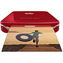 "HP Sprocket Plus Instant Photo Printer, Print 30% Larger Photos on 2.3x3.4"" Sticky-Backed Paper – Red (2FR87A)"