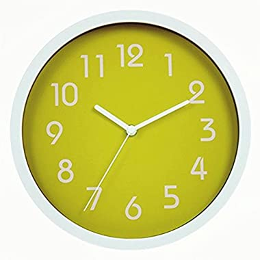 Binwo Modern Colorful Stylish Elegant Silent Non-ticking Home Kitchen/Living Room Wall Clock 10 Inches (Green)