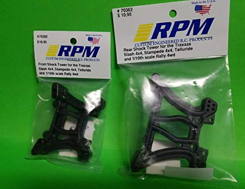 (RPM 2 Pack Front + Rear Shock Tower TRAXXAS Stampede Slash 4X4 Rally 70362 70392 4WD)