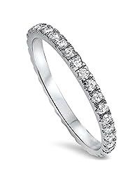 Sterling Silver 925 Diamond Cubic Zirconia CZ Women's Eternity Anniversary Wedding Band Ring Size 4-10