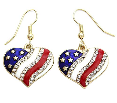 Patriotic Red White Blue American USA Flag Star Dangle Drop Earrings 4th of July Independence Day Gift (Gld Heart Hook)]()