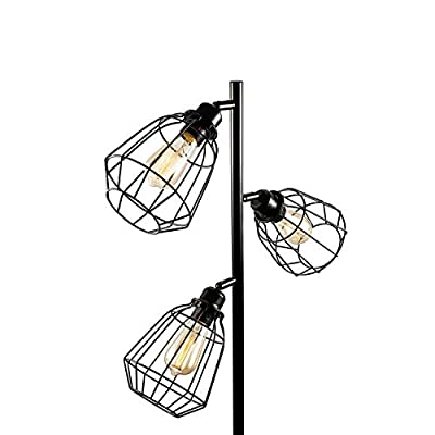 Oneach Tolbert Industrial Floor Lamp Metal Standing 3-Light Tree Floor lamp Black Lamp with Adjustable lampshade for Reading Bedroom Living Room Office Décor, 3 LED Edison Bulbs Included