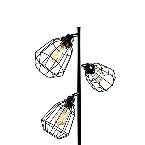 (Oneach Tolbert Modern 3-Light Tree Floor lamp (3 Bulbs Included)Metal Standing Industrial Black lamp with Adjustable lampshade for Reading Bedroom Living Room Office Decor)