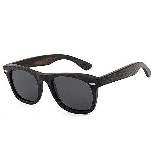 gafas polarizada pesca vacaciones Gafas vendimia sol hechos Lens de mano TAC Retro alta a de de sol conducción calidad oscura de de bambú la los de Gafas d Negro hombres playa libre de UV Protección al aire TFOfq