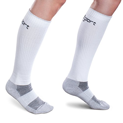 CoreSport Athletic Performance Compression Socks - 15-20mmHg Mild Graduated Compression (White, Medium) by Therafirm (Image #4)