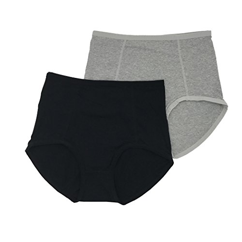 Feelingwear Women Cotton Panties Plus Size Stretchy Soft Breathable High Middle Waist Briefs Black & Grey Size XL