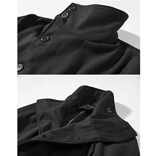 Trench Vestes Retro vent D'hiver Parka Schwarz Slim Long Coat Hommes Manteau Fit Coupe Chaud qZfttY