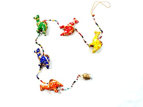 HANDMADE RAJASTHANI FABRIC CAMEL MOBILE HANGING: WITH GLASS BEADS AND BELLS: 48