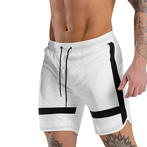 iHHAPY Drawstring Shorts Beach Casual Men Sports Pants Classic Jogger Running Hippie Relaxed Fit Sweatpants Pant for Men (White, XL) ()