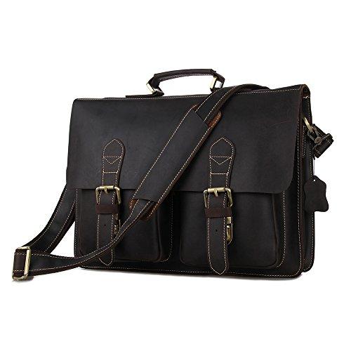 BAIGIO Leather Laptop Briefcase Men Shoudler Tote Messenger Bag (Dark Brown) by BAIGIO