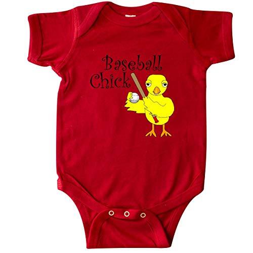 inktastic - Baseball Chick Text Infant Creeper Newborn Red 2f60d ()