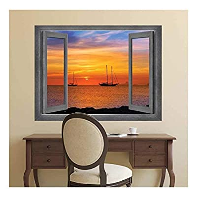 Pretty Artisanship, Open Window Creative Wall Decor A Bay Side View at Sunset Wall Mural, Quality Creation