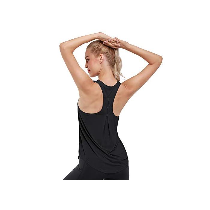 41cObLPaa8L Camiseta sin mangas ultra suave y cómoda: hecha de tela súper suave y elástica (80% nailon + 30% spandex), liviana, transpirable y de secado rápido, perfecta para ropa deportiva y uso diario. Absorbe la humedad y de secado rápido: diseñado para eliminar la humedad de su cuerpo y proporcionar la máxima comodidad; mejorar su rendimiento de yoga / carrera / entrenamiento. 80% Nailon, 20% Elastano