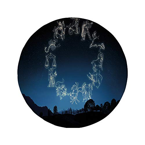 Non-Slip Rubber Round Mouse Pad,Astrology,Sketchy Zodiacal Sign Dots in Ombre Night Dark Sky in Forest Art Print Decorative,Dark Blue and White,7.87