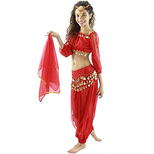 Bollywood Dance Costumes (Danzcue Bollywood Long Lantern 5-Piece Children Belly Dance Costume, Red, Large)