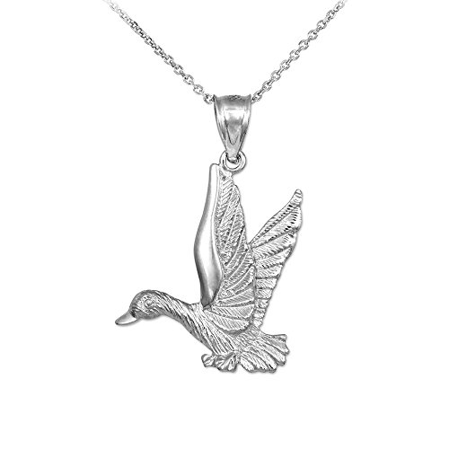 925 Sterling Silver Flying Duck Charm Pendant Necklace, 16