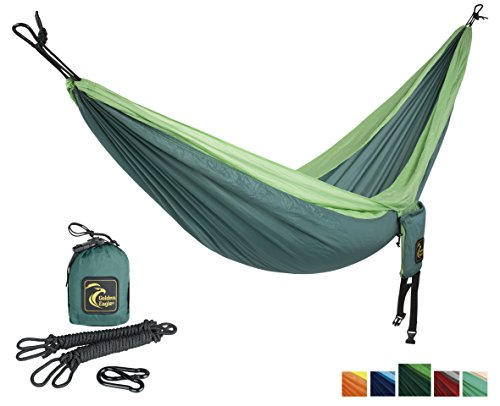 Golden Eagle Portable Single Parachute Silk Camping Hammock Set with Ropes and Carabiners, dark green / light green