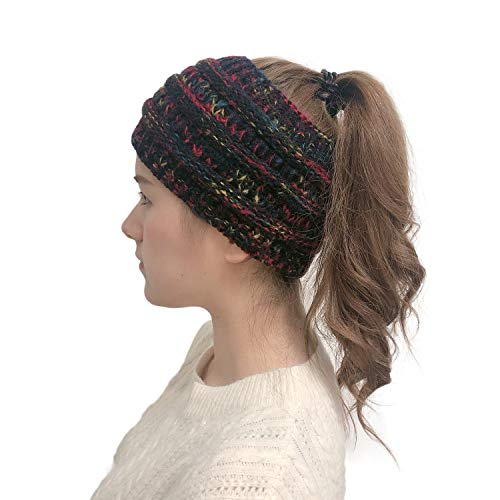 Women Winter Stretchy Soft Knitted Comfort Beanie Hats Skullies Cap Ear Warmer Headband (Black+White - http://coolthings.us
