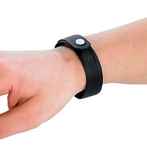 PEARL Größenverstellbares Anti-Mücken-Armband schwarz, 4er-Set