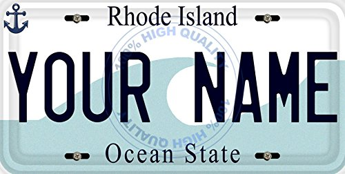 BleuReign(TM) Personalized Custom Name Rhode Island State Car Vehicle License Plate Auto Tag (ALL STATES - Island Name