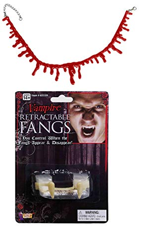 Nicky Bigs Novelties Retractable Vampire Fangs Bloody Choker Necklace Dracula Costume Accessory Kit