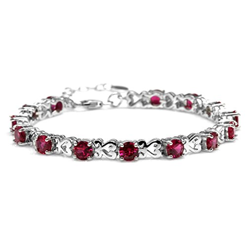 Simulated Ruby 925 Sterling Silver Heart Victorian Style 7-8.5