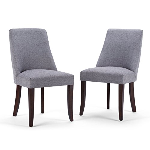 Simpli Home AXCDCHR-007-G Walden Contemporary Deluxe Dining Chair Set of 2 in Grey Linen Look Fabric
