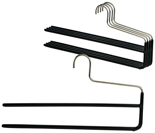 Mawa by Reston Lloyd Trouser Series Non-Slip Space-Saving Clothes Hanger with Double Rod for Pants,  Style KH/2, Set of 5, (Lloyd In Space Halloween)