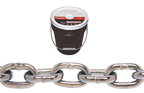 Campbell 0140523 System 3 Grade 30 Low Carbon Steel Proof Coil Chain in Round Pail, Zinc Plated, 5/16'' Trade, 0.31'' Diameter, 92' Length, 1900 lbs Load Capacity by Apex Tool Group