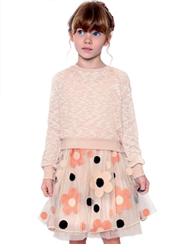 Truly Me, Big Girls Long Sleeve Sweater Dress, 7-16 (16, Soft Peach Multi)